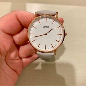 Cluse La Bohéme Leather Watch - Grey/Rose Gold